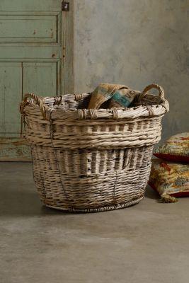 Champagne Grape Baskets - Vintage Wicker Baskets, Antique Woven Baskets, Woven Wicker Baskets   Soft Surroundings
