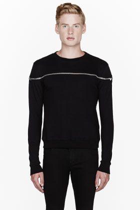 Saint Laurent Black Zippered-top Sweatshirt for men | SSENSE