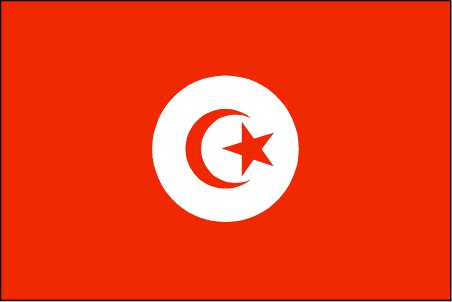 Tunisia Flag ~ The flag of Tunisia was officially adopted in 1835. It features the crescent and star of Islam on a field of red - a color taken from the ancient flag of Turkey.