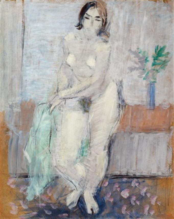 Alexandru Ciucurencu (1903-1977, Romanian), Nud în interior (Nude indoors), Oil on cardboard, 61 x 50 cm.