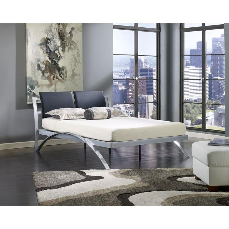 city view silver full platform bed