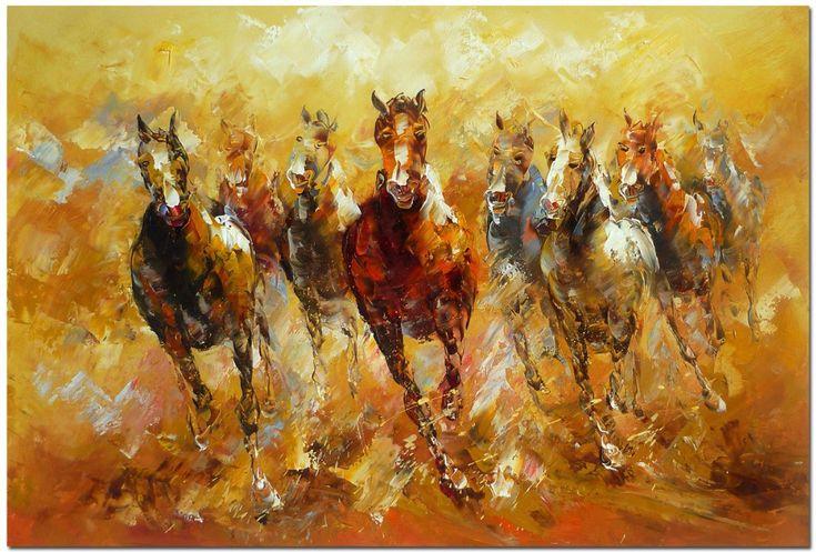 Gros original cheval peinture l 39 huile sur toile art 35 for Peinture sur fer a cheval