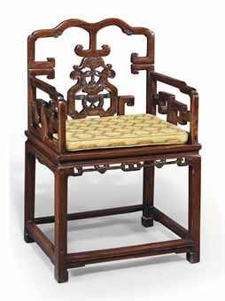 A CHINESE CARVED HONGMU ARMCHAIR  18/19 century