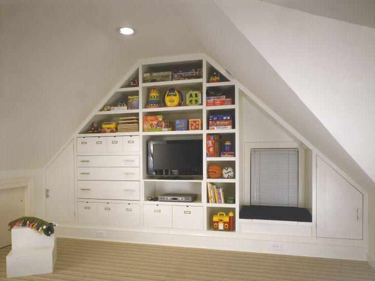 Regal  Dachschraege Weiss Kinderzimmer Schubladen Aufbewahrung Fernseher Spielzeuge