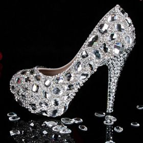 Crystal shoes bridal wedding from ILoveCuteShoes.com