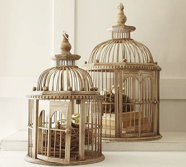 I would love to hang a birdcage from the wall, just for looks and to put pretty things in