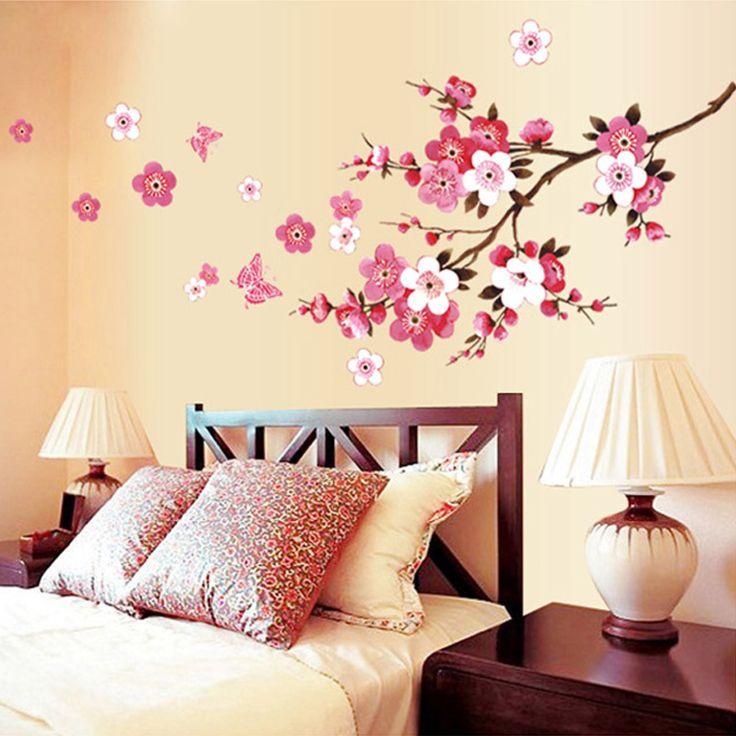 Mooie sakura muurstickers bloem perzik wallpaper living slaapkamer decoratie thuis decals muurschildering arts poster adesivo parete(China (Mainland))