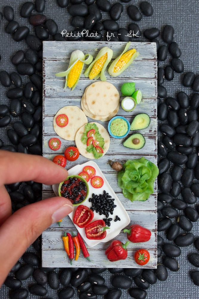 Mexican Food, Miniature Sculpture by Stephanie Kilgast