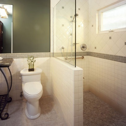 Bathroom Design, Pictures, Remodel, Decor and Ideas - page 13  another half glass, half tiled wall...
