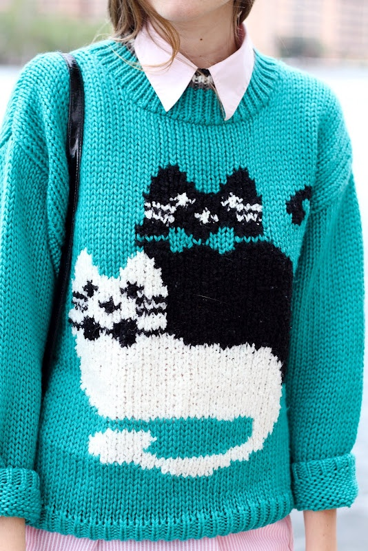 {crazy cat lady sweater} meow! I would totally rock this. ;)..Samantha and Juju!!