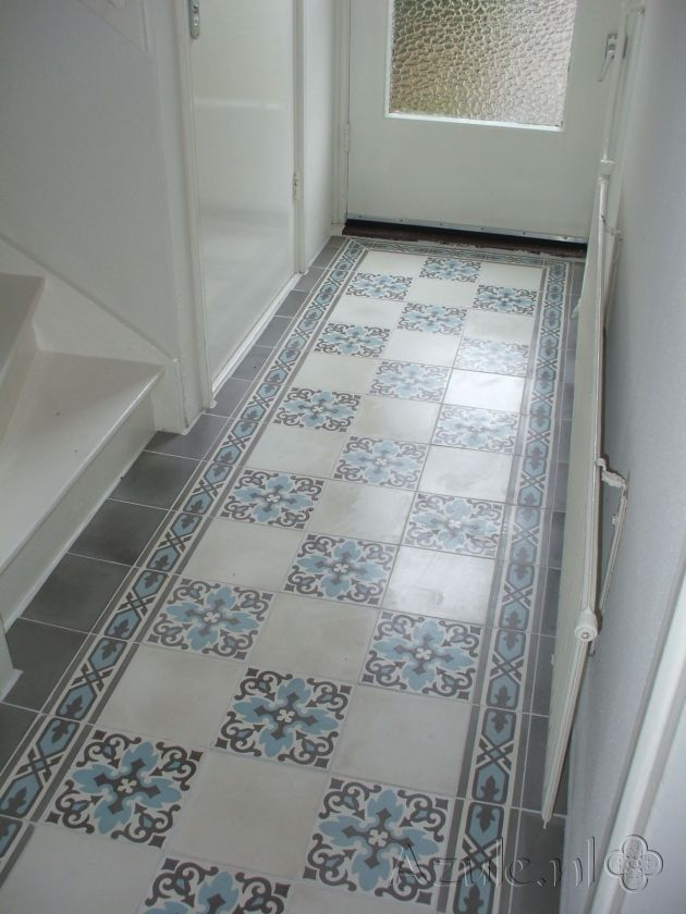 Cement tiles Hall - Gris 04 + Border 01 - Egal Gris S7005 - Egal Blanc S834 - Project van Designtegels.nl