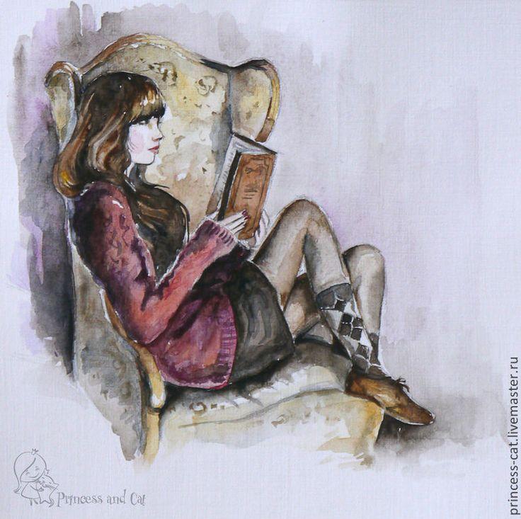 Купить Девушка в кресле - коричневый, коричневый цвет, акварель, кресло, акварельная картина, девушка в кресле
