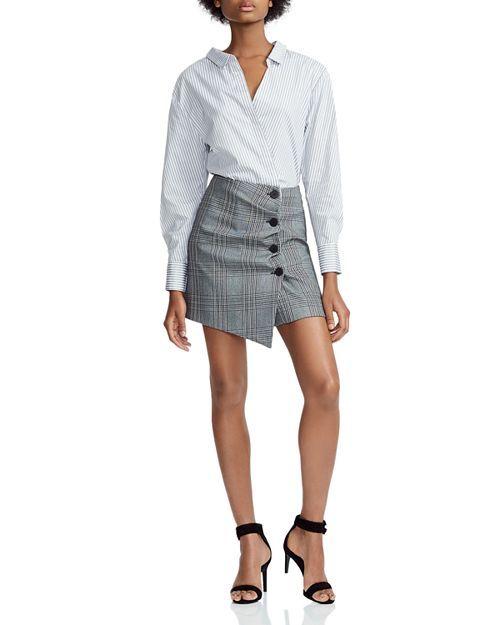 fc0ceb4357 Maje - Raime Mixed Print Mini Shirt Dress Mini Shirt Dress, Plaid Skirts,  Mini