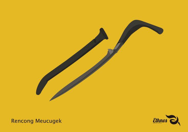 Rencong Meucugek. Senjata Tradisional Aceh yang digunakan sebagai senjata dan digunakan oleh pejuang Aceh melawan Belanda. Rencong Meucugek, gagang dan sarungnya ada yang terbuat dari gading gajah, ada yang terbuat dari tanduk ataupun kombinasi antara gading dan tanduk.