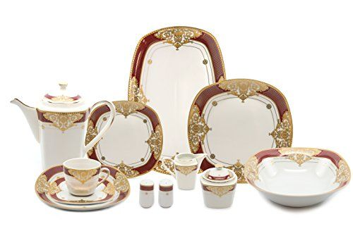 Royalty Porcelain 49pc Banquet Dinnerware Set for 8, 24K Gold Bone China (7326R-49)  http://stylexotic.com/royalty-porcelain-49pc-banquet-dinnerware-set-for-8-24k-gold-bone-china-7326r-49/