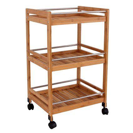 Songmics® Carrito auxiliar de cocina de bambú mesa de servicio con ruedas 45 x…