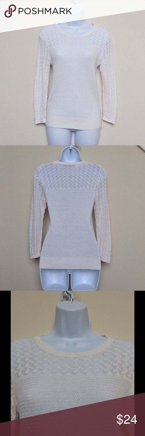 LOFT White Lacy Sweater Top, S Beautiful and delicate white lacy knit light sweater top from LOFT in size small.  Top is only gently used and is in very good condition.  Please see close up photo for a good idea of the lacy knit fashion of this top. LOFT Sweaters