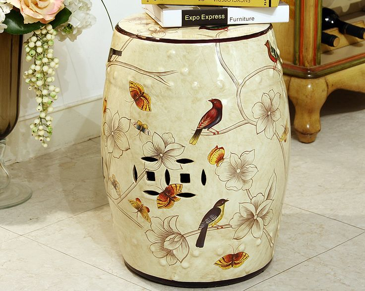 Modern chinese decorative ceramic drum stool for home and garde decoraton