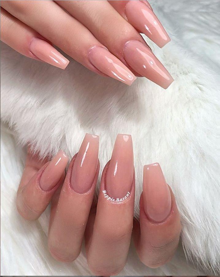 Pink Gel Coffin Nails Long Natural Gel Nails Design Gel Nails Design Ideas Gel Nails Color Summer Nails Natural Gel Nails Pink Gel Nails Gel Nail Designs