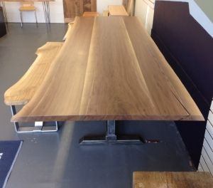 Black walnut table 42″x120″x 30″tall x1.5″thick handcrafted by Lakeside Metal and Wood