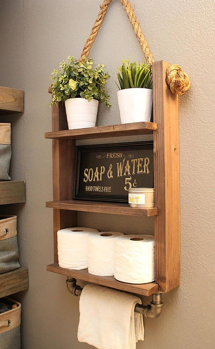 Hanging Bathroom Shelf With Industrial Towel Bar In 2020 Bathroom Towel Storage Hand Towels Bathroom Rustic Bathroom Shelves