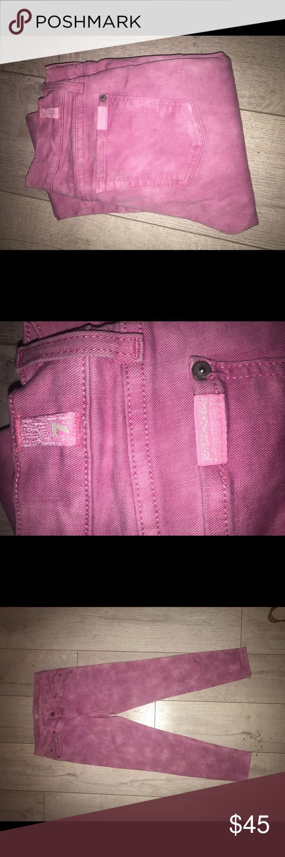 Seven mankind pink tie dye jeans size 27 NEW notag 7 for all mankind Pink tie dye skinny jeans Ankle length Very cool and rare Beautiful pink color  Plastic tag is on waist still as these were never worn they sat in my closet. 7 For All Mankind Jeans Skinny