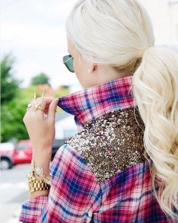 Stunning! This very hot plaid top with sequin detail is AMAZING! *Fit TRUE to…