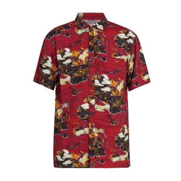 Lanvin Dinosaur-print hawaiian shirt ($521) ❤ liked on Polyvore featuring men's fashion, men's clothing, men's shirts, men's casual shirts, red, mens multi coloured shirts, colorful mens dress shirts, men's flower print shirt, mens patterned shirts and mens floral print shirts