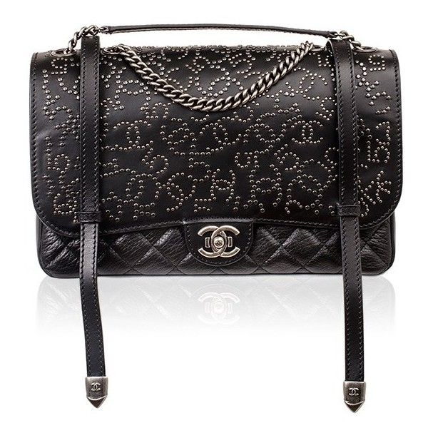 Madison Avenue Couture Chanel Dallas Runway Black Studded Large... ($6,750) ❤ liked on Polyvore featuring bags, messenger bags, chanel, carteras, chanel bags, black, courier bag, black quilted bag, distressed messenger bag and quilted bag