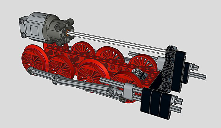 The drive train of the BR 55 engine. In order to get the see through between boiler and chassis and also keep the boiler narrow I had to put the motor in the fire box. The best place for the gears down to the wheel axles however seemed to be between the cylinders. The 16L axle runs through the (open) bottom of the boiler. For the connecting and coupling rods I'm using Ben Coifmans custom gear. The connection between connecting rod and piston rod sits beside the coupling rod which caused…