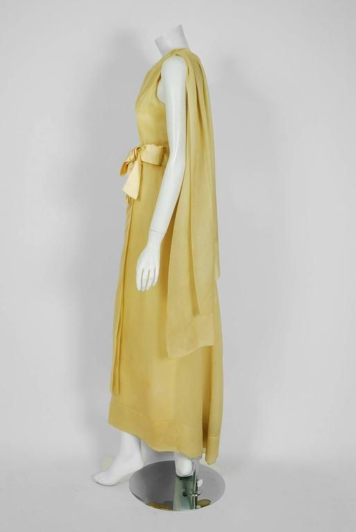1969 Christian Dior Haute-Couture Yellow Silk One-Shoulder Grecian Goddess Gown 2