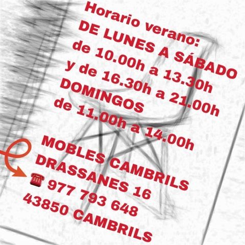Horario verano 2016 de Mobles Cambrils