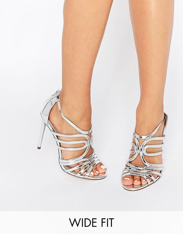 Image 1 ofASOS HOME AND AWAY Wide Fit Caged Heeled Sandals
