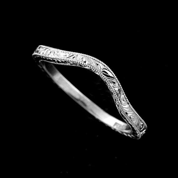 Vintage Style Delicate Thin Solid 14K Gold Curved by OroSpot