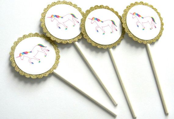 12 unicorno Glitter Cupcake Toppers, tema Unicorn, Glitter oro, unicorno, primo compleanno, festa dell'unicorno, Pink Unicorn, Rainbow Party