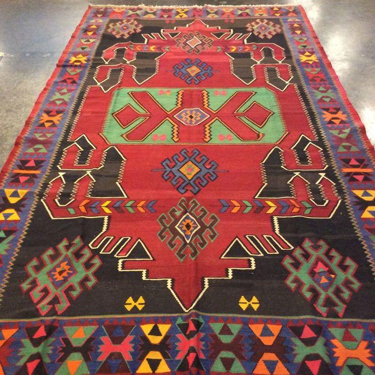 "Russian Caucasian Kilim Rug 6'2""x11'0"" 100% wool. Hand woven. Soumak. red, blue #TraditionalPersianOriental"