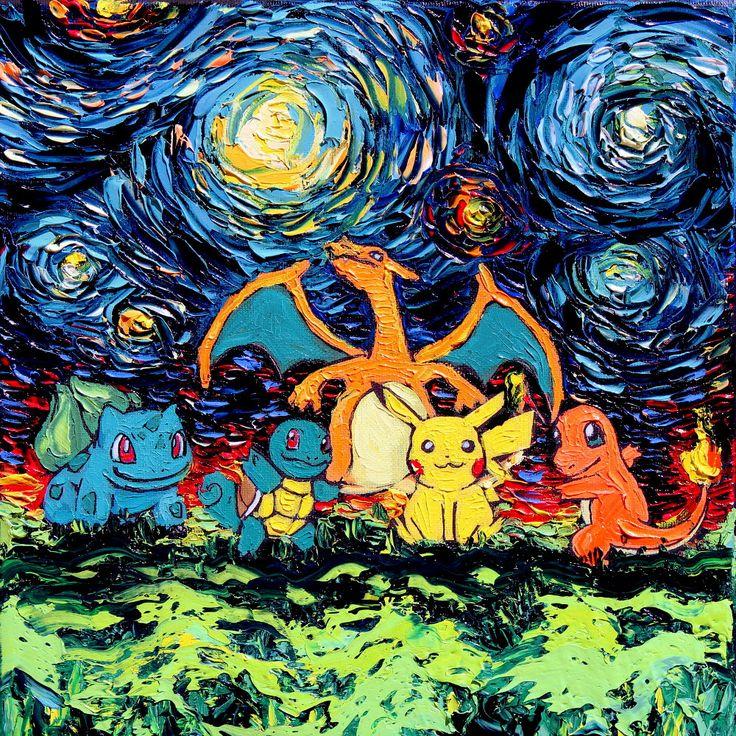 Pokemon Art Starry Night CANVAS print van Gogh Never Battled