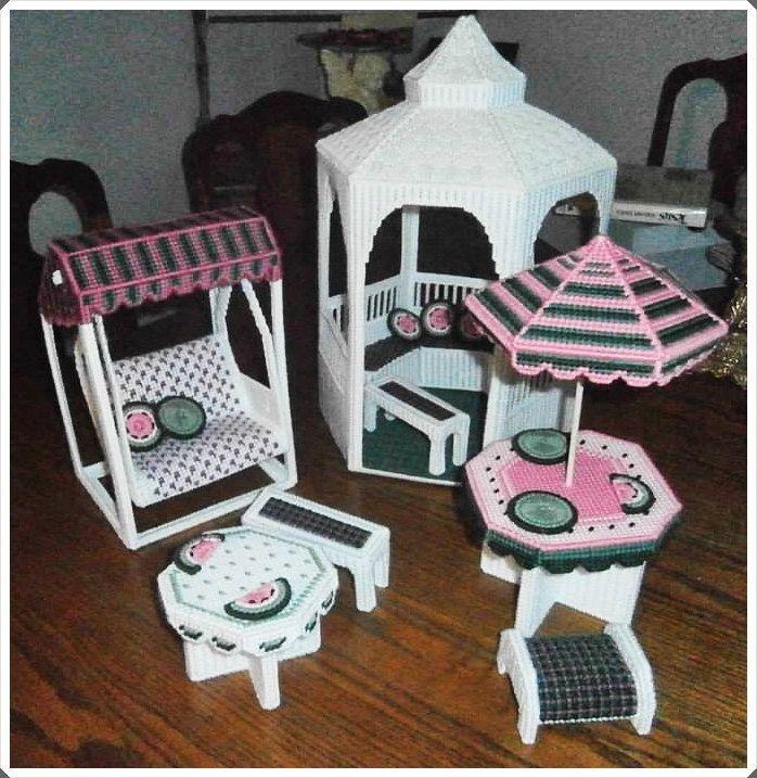 Fasion Barbie Furniture - Gazebo Barbie Set - Plastic Canvas Furniture - Realistic Barbie Furniture - Girls Barbie toys - Barbie Gazebo - pinned by pin4etsy.com