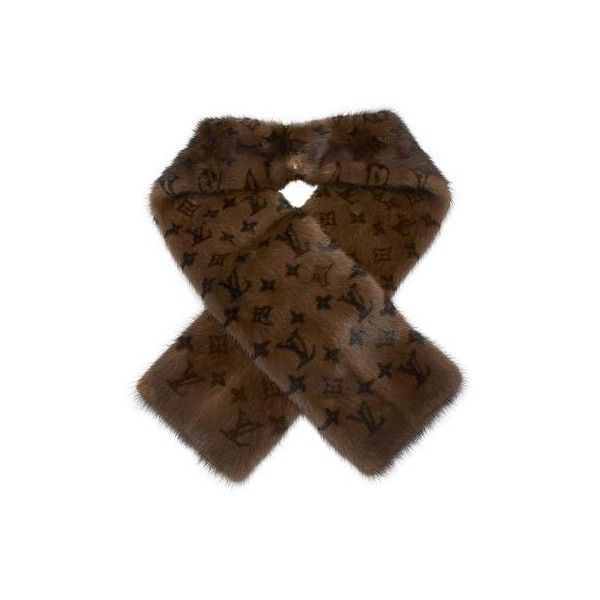 Pre-owned Louis Vuitton Echarpe Vizon Mink Fur Brown Monogram Scarf ($1,440) ❤ liked on Polyvore featuring accessories, scarves, brown shawl, louis vuitton scarves, mink shawl, monogrammed scarves and brown scarves