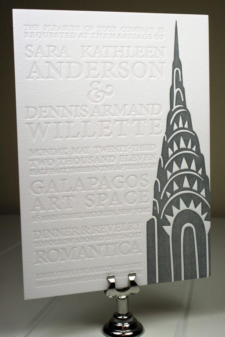Blind Emboss Letterpress NY Wedding Invitation. $8.00, via Etsy.