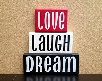 Love Laugh Dream - Wood Blocks - Wooden Blocks - Shelf Sitter - Stacking Blocks - Block Set