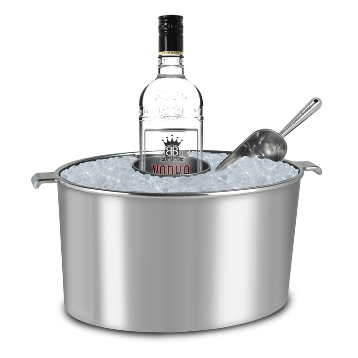 This is such a great idea.  Lets you easily use a bottle and put it back so it stays cold while the ones that you aren't using can sit in the actual ice.  Genius. Fab.com | Bottle Bucket With Scoop