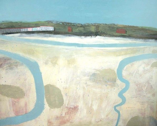 riverbeds, hayle estuary  ELAINE PAMPHILON  Mixed media on canvas  120 x 150 cm
