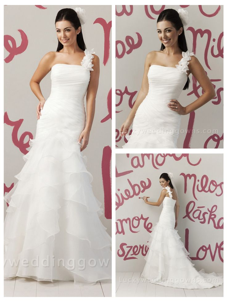 ALLURE ORGANZA ONE SHOULDER SUMMER WEDDING DRESS WITH DRAPED TIERED SKIRT
