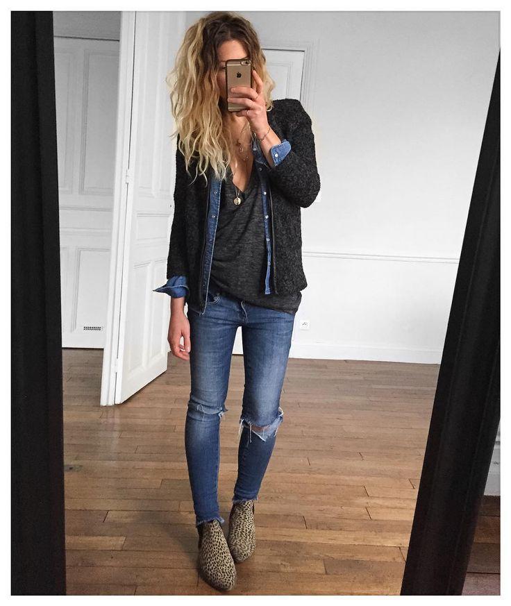 Veste #eponymcreation (old) chemise jean #ekyog (old) tee Wenji #isabelmarant sur @mytheresa.com jean #aninebing sur @cyrielleforkure boots #isabelmarant ( old) #ootd by meleponym