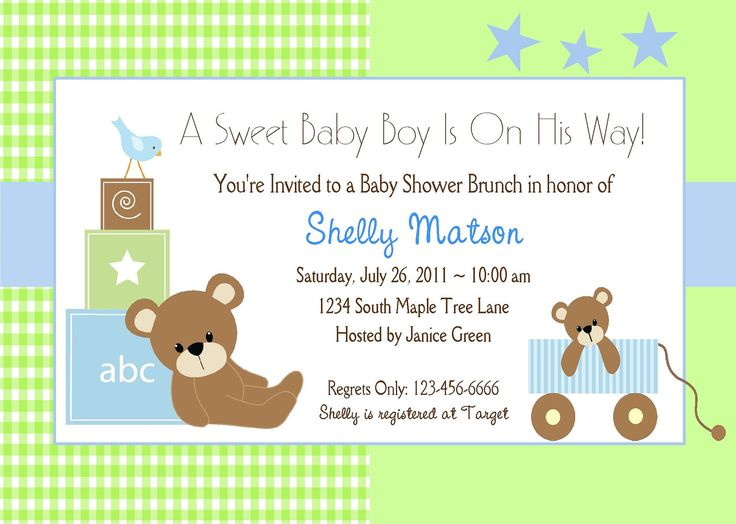 BABY SHOWER INVITATION For Boy / Cute Blue And Green Teddy Bear/ Baby  Announcement Or First Birthday Invitation For Boy
