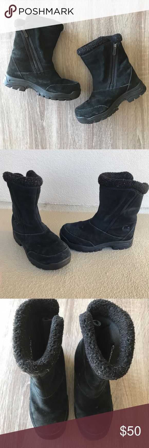 """Sorel Waterfall Black Winter Thinsulate Boots Black suede rubber bottom boots from Sorel.  These boots have a rubber sole, are lightweight and durable, and have a 3M Thinsulate Ultra 400 insulation.  The waterproof material makes them the perfect snow boots for winter.  Great condition with minimal wear on suede and fur.  - Size 6.5 - Approx. 9.5"""" shaft - Approx. 14"""" circumference SOREL Shoes Ankle Boots & Booties"""
