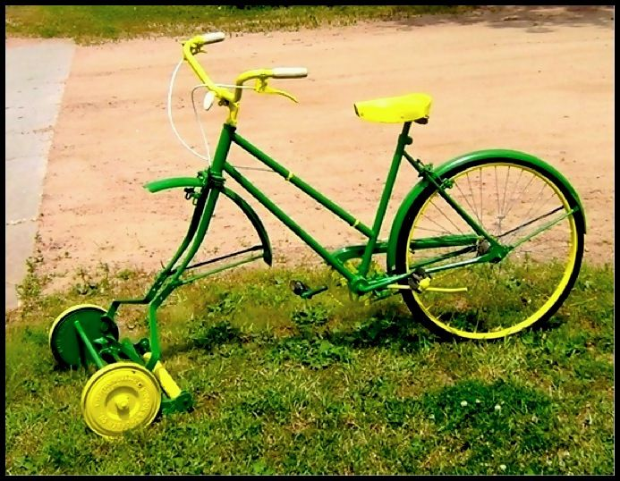 Image result for bike and lawn mower