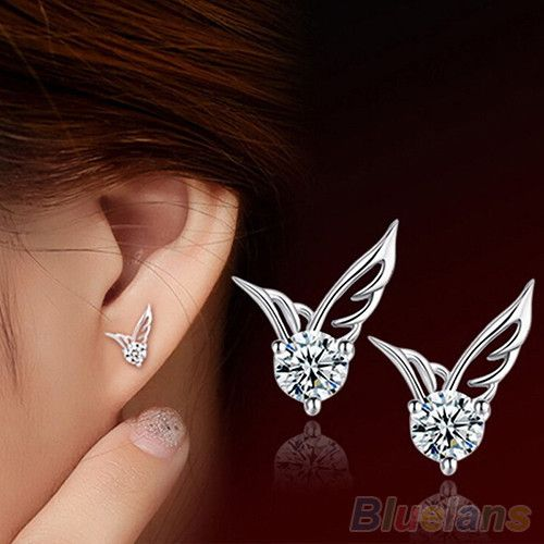 Womens Silver Plated Jewelry Angel Wings Crystal Ear Stud Earrings