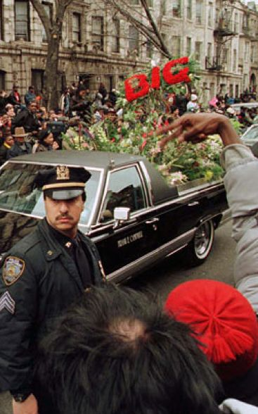 The Notorious B.I.G.'s funeral procession through the streets of Brooklyn.